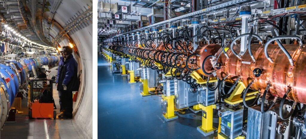 Z lewej- naukowcy z IFJ PAN w tunelu LHC, z prawej - wnęki rezonansowe PIMS zainstalowane w akceleratorze Linac4.